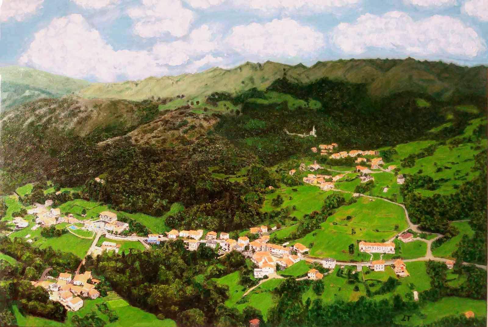 Oleo de un paisaje de cantabria