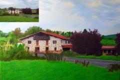 Pintura al oleo de un caserio de Euskadi