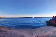 Cuadro panoramico de un pueblo costero