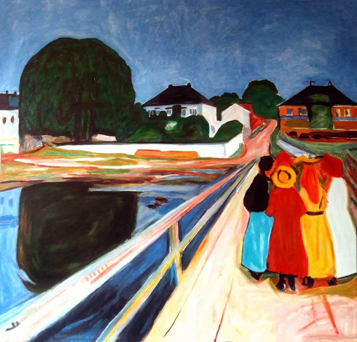 Muchachas en el puente Edouard Leon Cortes