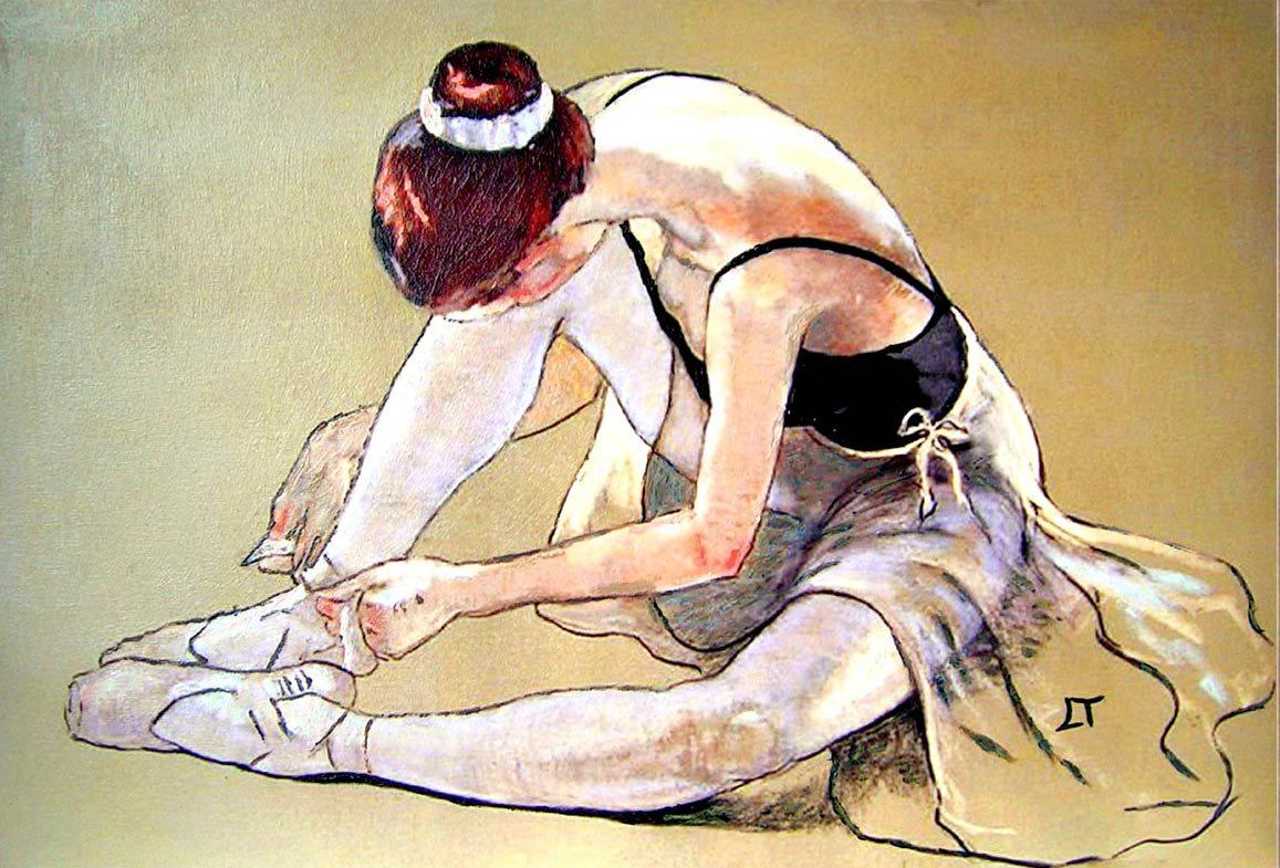 Oleo de muchacha ballet