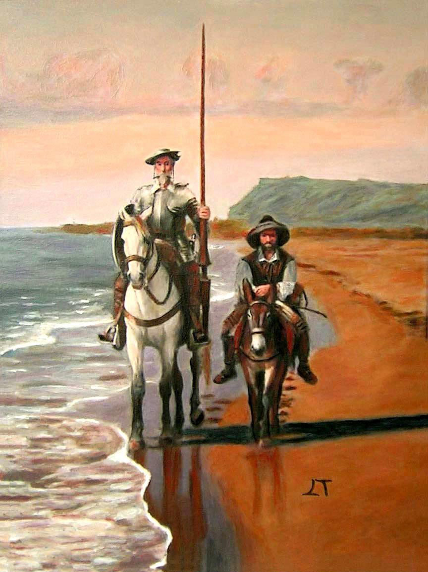 reproducciones de Don Quijote y Sancho Panza