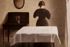 Reproduccion al oleo de un cuadro de Vilhelm Hammershoi