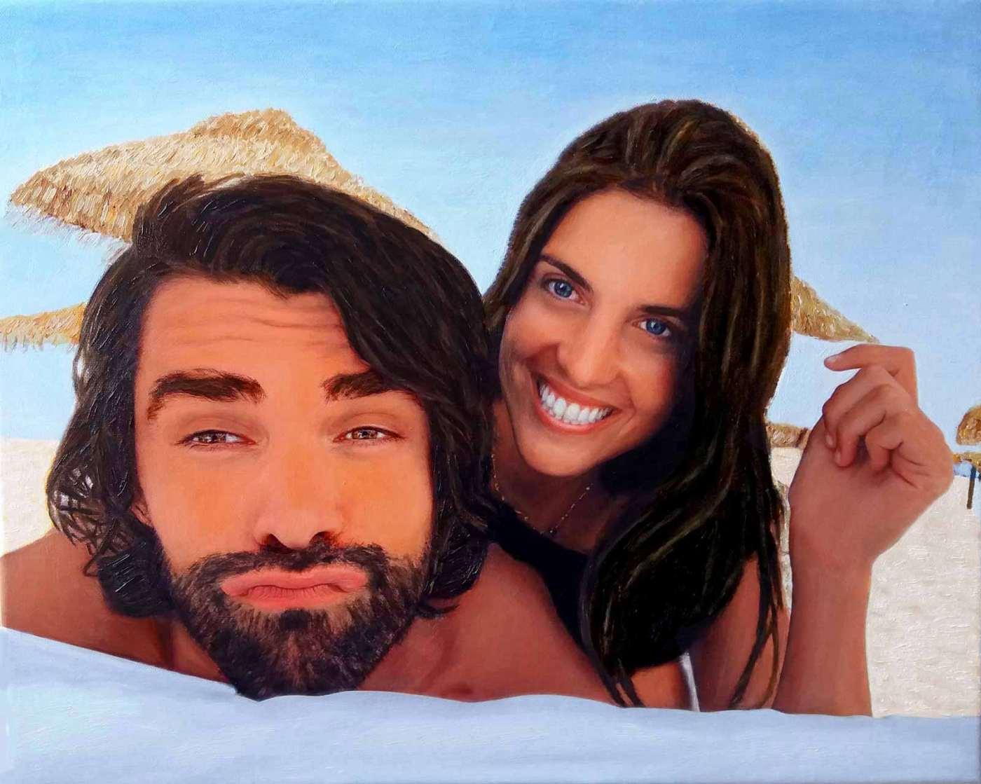 Retrato de una pareja en la playa