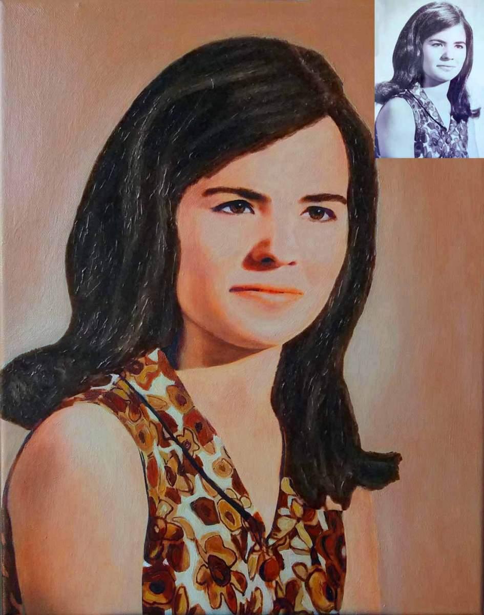 retrato en color de una foto en blanco y negro