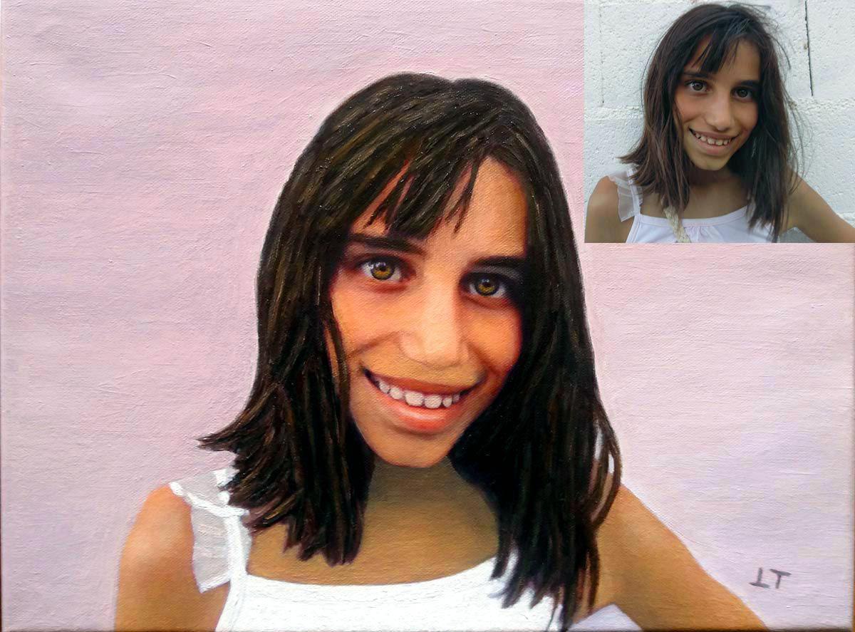 Portraits óleo de una niña