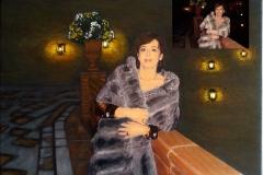 óleo mujer de Barcelona de noche