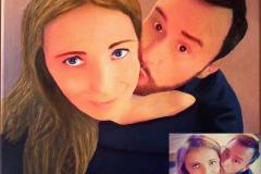 Retrato al óleo de una pareja pintado a partir de un selfie.